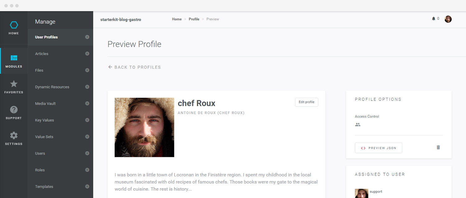 Baasic User Profile