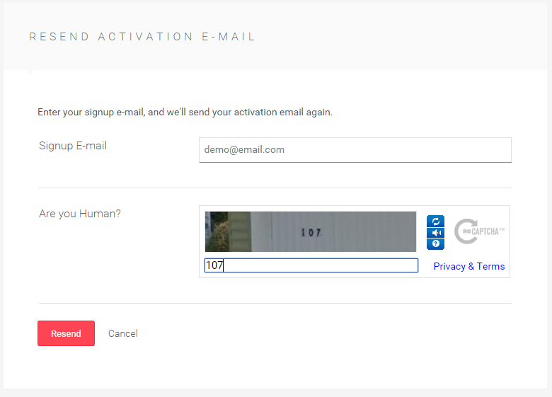 The Account Activation Form