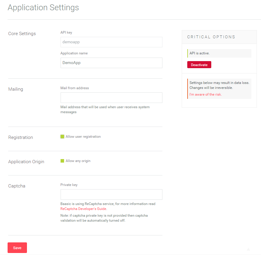 Application Settings Screen