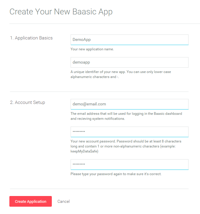 The Create Application Form